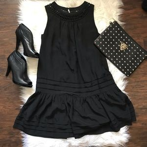 BCBGMaxazria Black Ruffle Hem Shift Dress
